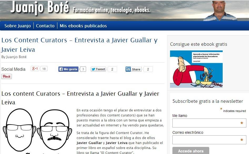 Entrevista en blog de Juanjo Boté