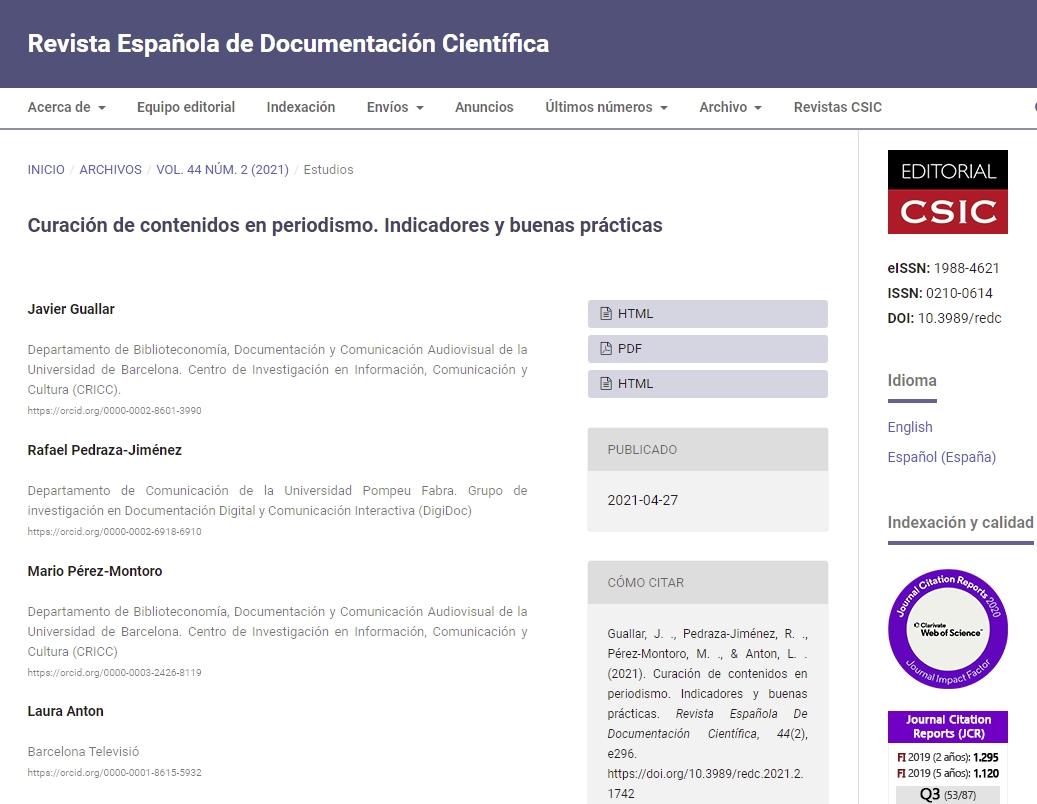 Artículo REDC Curación de contenidos en periodismo